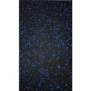 Revêtement de sol en caoutchouc RubberMax, 600 po x 48 po, 200 pi², noir tacheté bleu