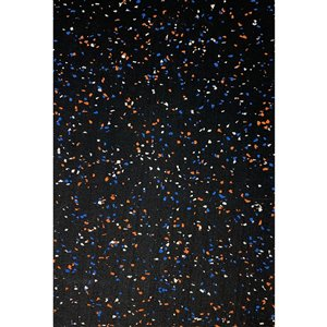 RubberMax Roll - 600-in x 48-in - 200 sq ft - Black, flecked orange/blue/white