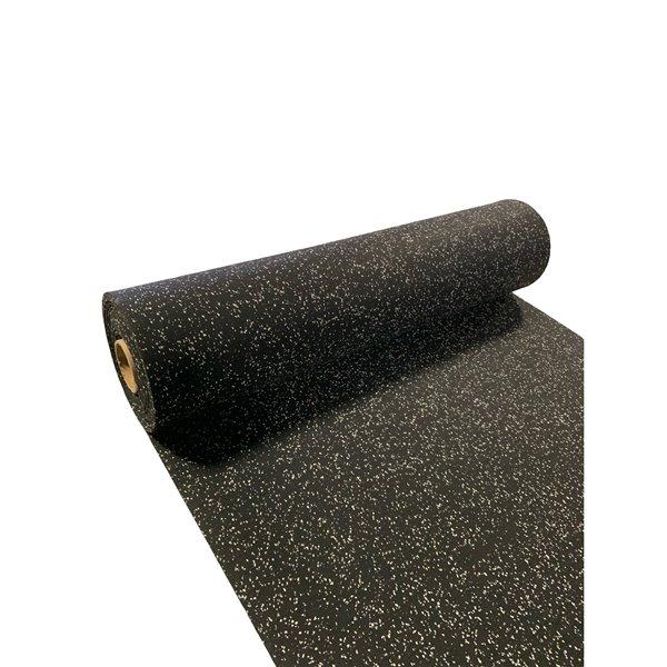 RubberMax Roll - Rubber Floor Tile - 300-in x 48-in - 100 sq ft - Black, flecked gray