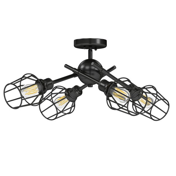 Golden Lighting Axel Semi-Flush Light - 26-in x 7-in - Black