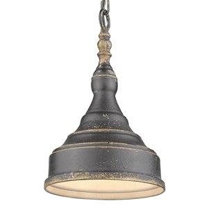 Golden Lighting Keating 1-Light Pendant Light - Antique Black Iron
