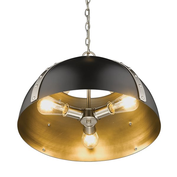 Golden Lighting Aldrich Pewter 3-Light Pendant Light - Grey