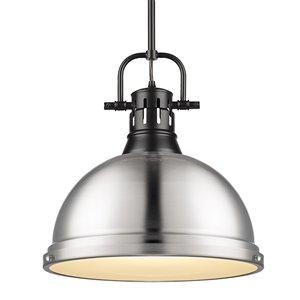 Golden Lighting Duncan 1-Light Pendant with Rod - Black