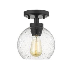 Golden Lighting Galveston Glass Flush Mount Light - 7.25-in - Black