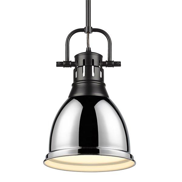 Golden Lighting Duncan Small Pendant Light with Rod - Black
