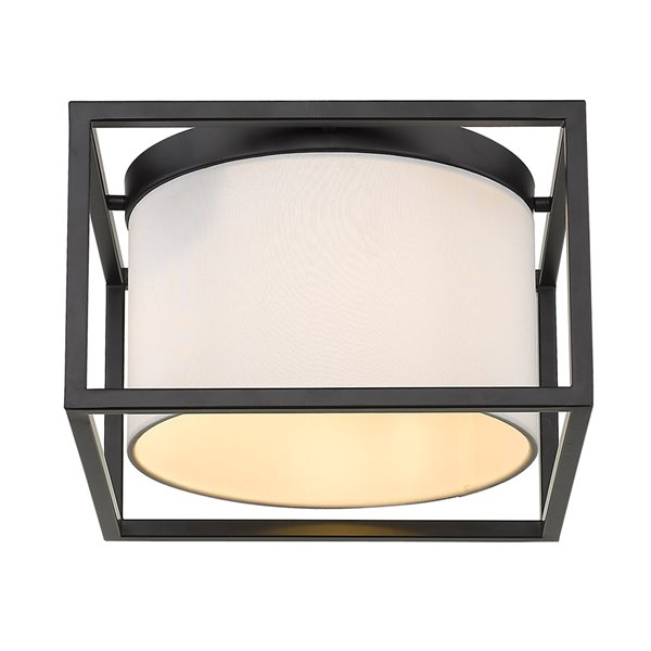 Golden Lighting Manhattan Flush Mount Light - 12-in - Matte Black