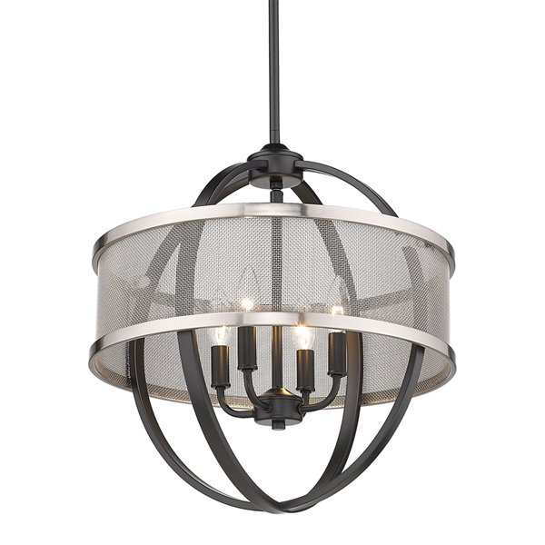 Golden Lighting Colson 4-Light Chandelier with Shade - 17-in