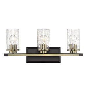 Mercer 3 Light Bath Vanity in Matte Black with Brass accents