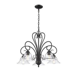 Golden Lighting Homestead 5-Light Clear Glass Nook Chandelier - Black - 25-in