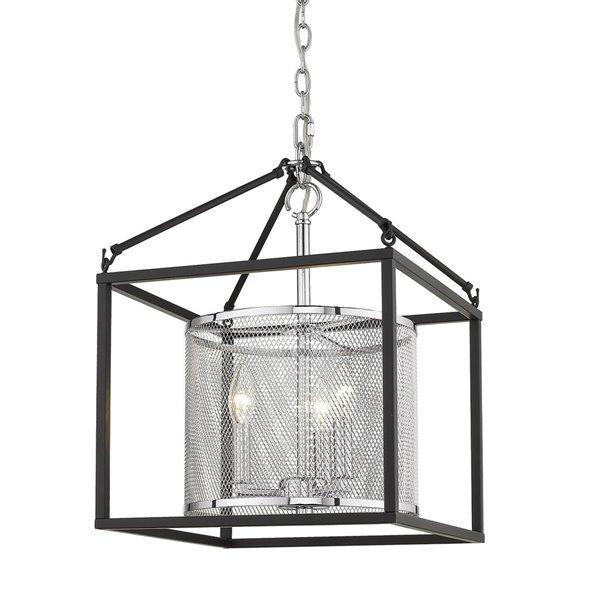 Golden Lighting London 3-Light Chrome Pendant Light with Black Outer Cage - Grey