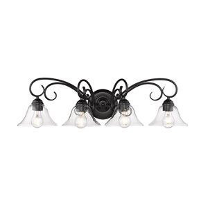 Homestead 4 Light Bath Vanity in Black with Clear Glass