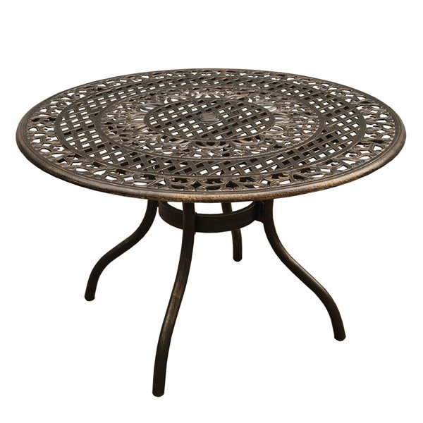 Oakland Living Ornate Mesh Round Dining Table - 48-in - Aluminum - Bronze