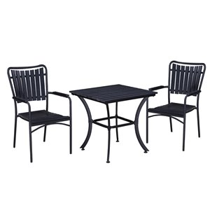 Oakland Living Patio Dining Set - Steel - 3-Piece - Black