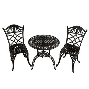 Oakland Living Patio Dining Set - Aluminum - 3-Piece - Sand Black