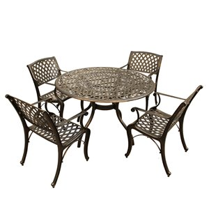 Oakland Living Patio Dining Set - Aluminum - 5-Piece - Bronze
