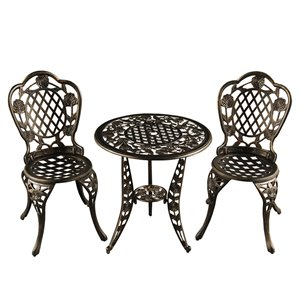 Oakland Living Patio Dining Set - Aluminum - 3-Piece - Black
