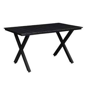 Oakland Living Modern Faux Wood Slatted Black Dining Table 51-in - Steel - Black