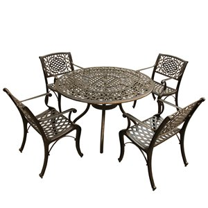 Oakland Living Patio Dining Set - Aluminum - 5-Piece - Bronze