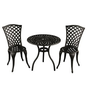 Oakland Living Rose Bistro Patio Dining Set - Aluminum - 3-Piece - Sand Black