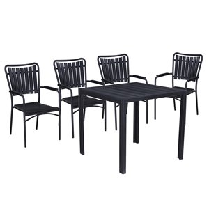 Oakland Living Patio Dining Set - Steel - 5-Piece - Black