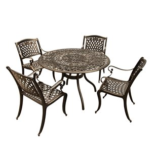 Oakland Living Round Patio Dining Set - Aluminum - 5-Piece - Bronze