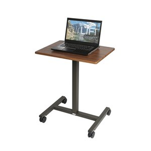 Seville Classics AIRLIFT Pneumatic Heigh Adjustable Sit-Stand Mobile Desk Cart - Maple