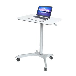 Seville Classics AIRLIFT XL Pneumatic Height Adjustable Sit-Stand Mobile Desk Cart - White