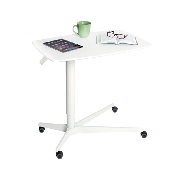 Seville Classics AIRLIFT Overbed Medical Pneumatic Adjustable Table - White