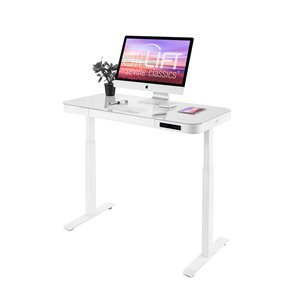 Seville Classics Electric Height Adjustable Desk with Glass Top - White