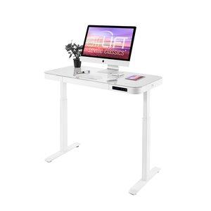 Bureau à hauteur ajustable électrique avec plateau en verre de Seville Classics, blanc