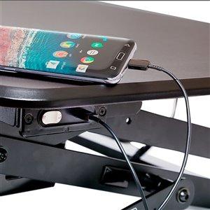 Poste de travail standard à hauteur ajustable électrique avec chargeur USB de Seville Classics, 35 po, noir
