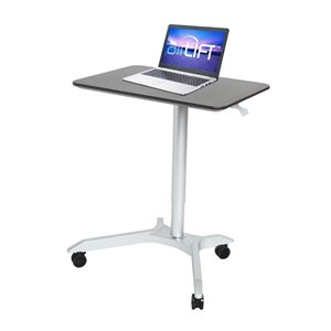 Seville Classics AIRLIFT XL Pneumatic Height Adjustable Sit-Stand Mobile Desk Cart - Espresso
