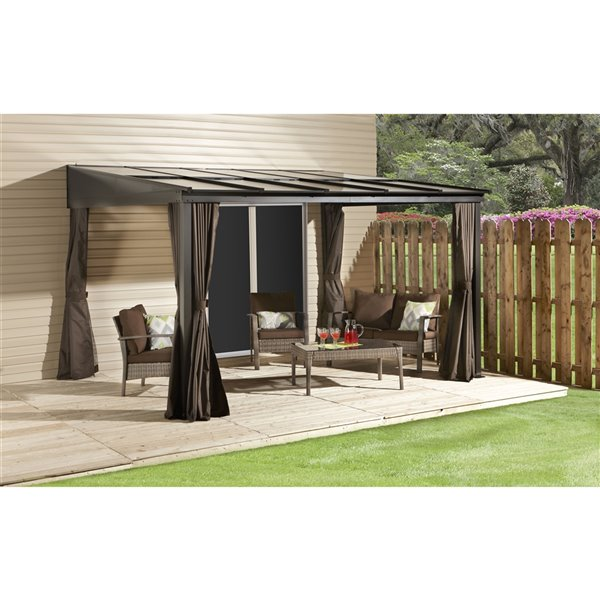 Sojag Pompano Wall-Mounted Sun Shelter - Dark Brown - 10-ft x 14-ft