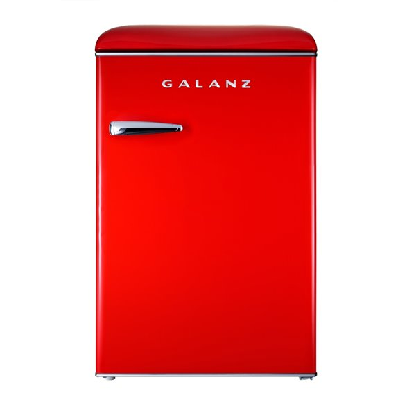 Galanz Retro Single Door Mini Fridge, Fridge Only in Red - 4.4 cu. ft.