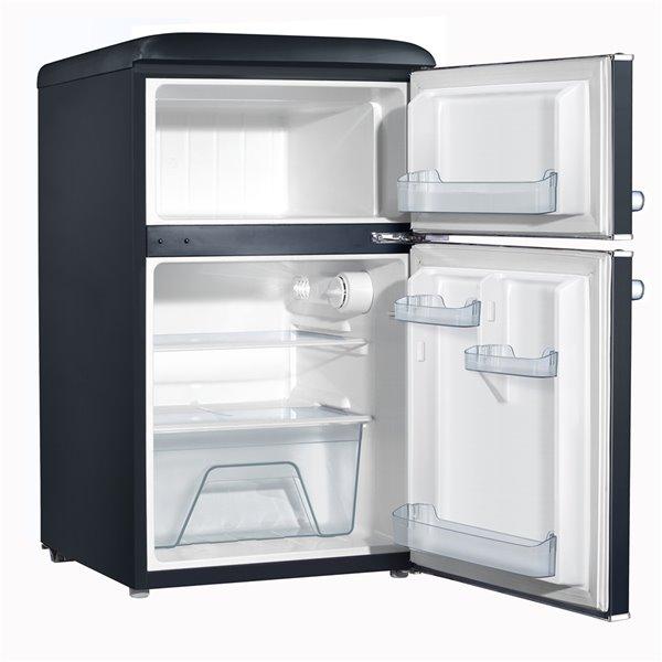 Galanz Retro Mini Fridge with Dual Door True Freezer in Black - 3.1 cu. ft.