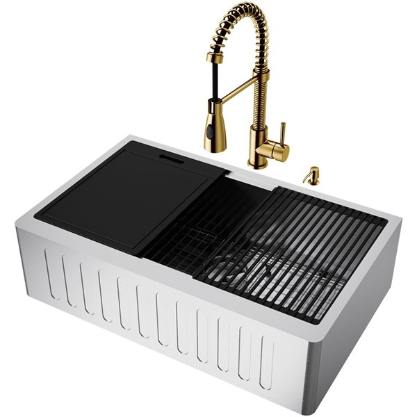 VIGO Oxford Stainless Steel Kitchen Sink with Matte Gold Faucet - Single Bowl - 38-in