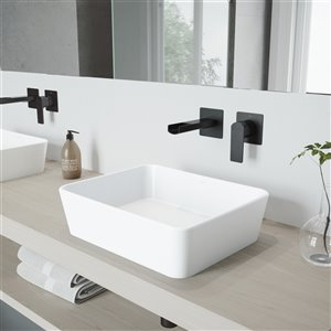 VIGO Marigold Matte White Bathroom Sink - 17.75-in - Matte Black Faucet