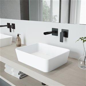 Lavabo de salle de bains blanc Marigold de VIGO, robinet noir mat, 17,75 po
