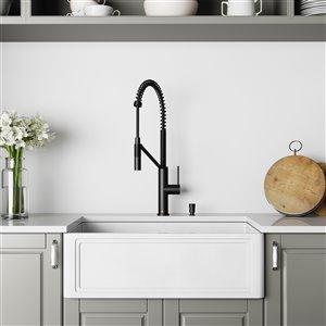 Évier de cuisine simple Matte Stone de VIGO, robinet noir mat, 36 po x 25 po
