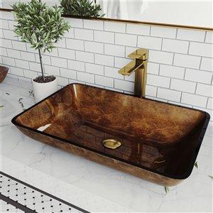 Lavabo de salle de bains brun Russet de VIGO, robinet or mat, 14,5 po