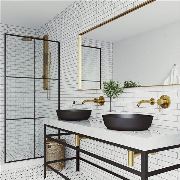 VIGO Modus Matte Black Bathroom Sink - 16.5-in - Matte Gold Faucet