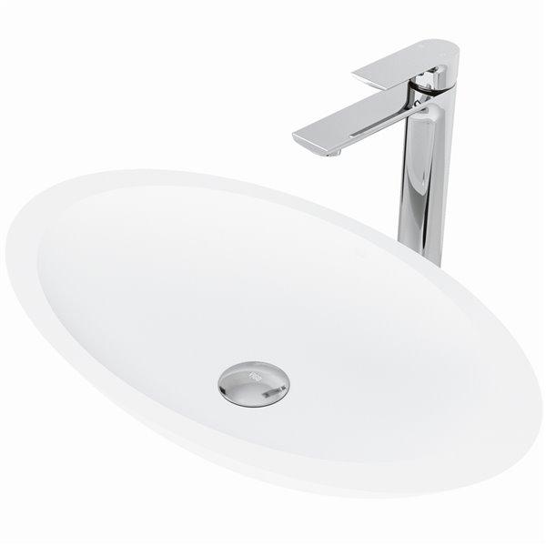 VIGO Wisteria Matte White Bathroom Sink - 23.13-in - Chrome Faucet