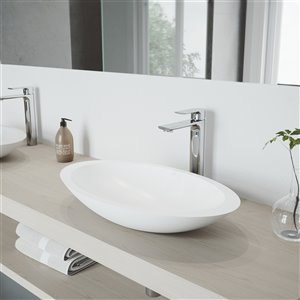 VIGO Wisteria Matte White Bathroom Sink - 23.13-in - Chrome Faucet