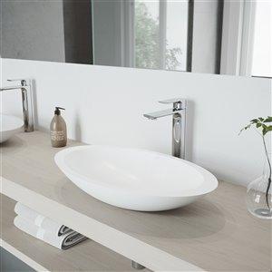 Lavabo de salle de bains blanc Wisteria de VIGO, robinet chromé, 23,13 po