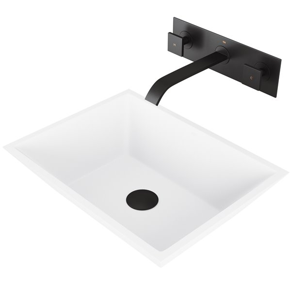 VIGO Vinca Bathroom Sink - 18-in - Matte Black Faucet