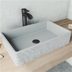 Lavabo de salle de bains Dahlia de VIGO, 21,25 po, gris cendré