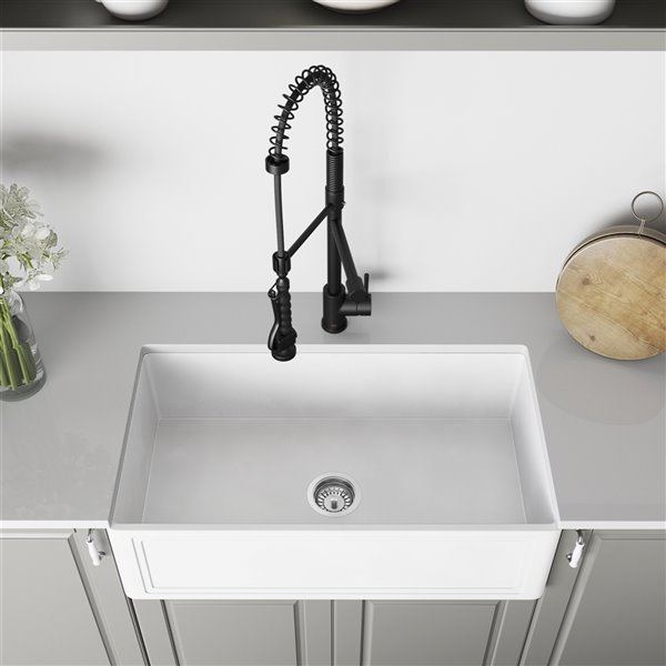 VIGO Matte Stone White Kitchen Sink with Matte Black Faucet - Single Bowl - 39-in x 25-in