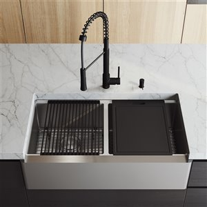 VIGO Oxford Stainless Steel Kitchen Sink with Matte Black Faucet - Double Bowl - 41-in