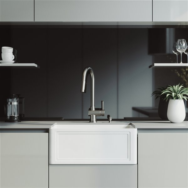 Vigo Matte Stone White Kitchen Sink With Stainless Steel Faucet Single Bowl 30 In Vg15843 Rona