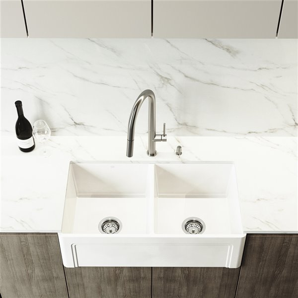 VIGO Matte Stone White Kitchen Sink with Stainless Steel Faucet - Double Equal Bowl - 39-in x 25-in